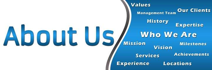 About Us - Heading and Keywords - Blue Banner